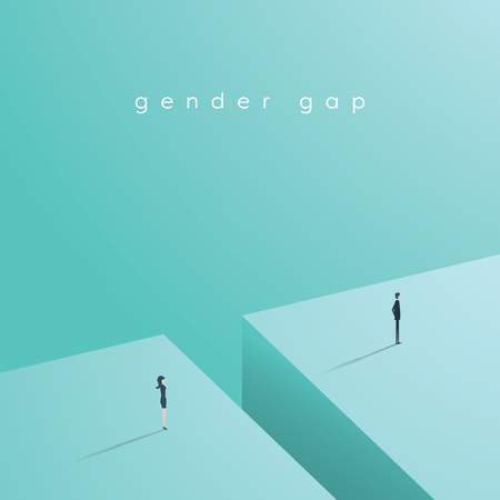 Business gender gap inequality vector concept with businessman and businesswoman standing across gap. 免版税图像 - 71716432