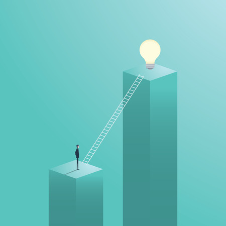 Creative solution business vector concept with businessman climbing on ladder to a light bulb.