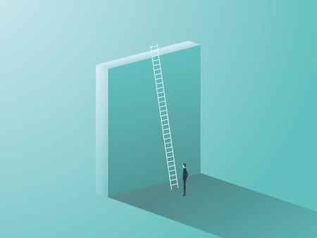 Business challenge concept with big wall and ladder. Businessman standing in front, symbol for career growth, finding creative solution.