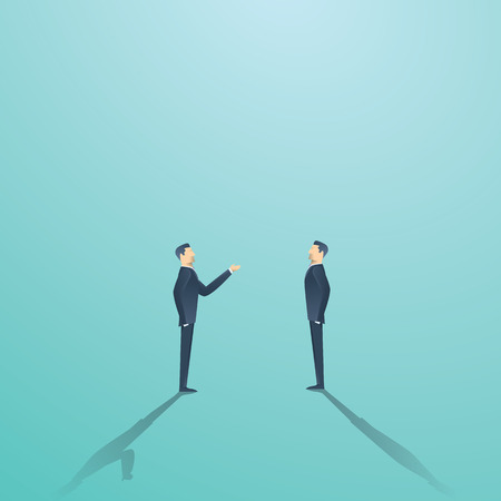 Business negotiation vector concept with two businessmen having conversation or argument. Illustration