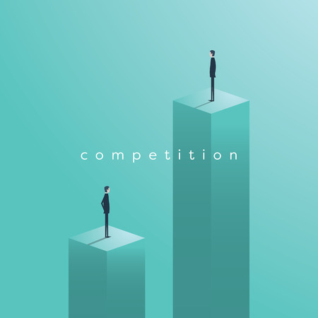 Business competition concept with businessman vector illustration. Symbol of challenge, race, success and winners.