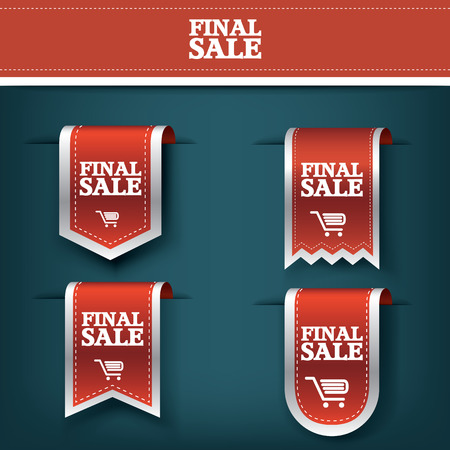 red ribbon week: Set, collection of Final sale red ribbon vector tag icon for product promotion and shopping. Bookmark 3d design with realistic shadows. Eps10 vector illustration.