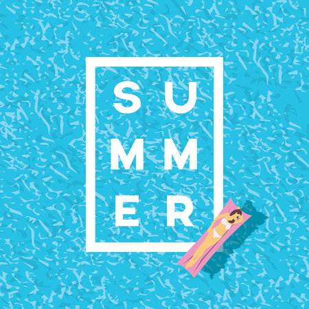 Woman in bikini on water. Summer poster in modern retro style.