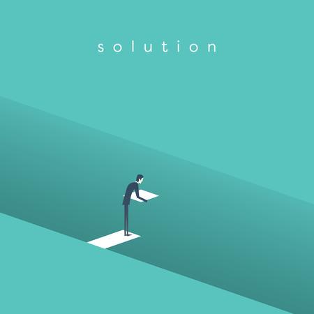 Business-Lösung Vektor-Konzept mit Geschäftsmann Gebäude Brücke über tiefe Loch. Symbol der Geschäftsinnovation, Überwindung von Herausforderungen und Chancen. Eps10 Vektor-Illustration.