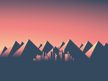 mountain sunset: Modern cityscape with skyscrapers skyline in sunset colors. Mountain landscape background with high mountain range. Eps10 vector illustration.