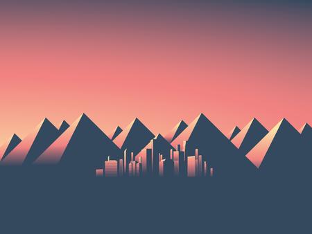 Moderne stadsgezicht met wolkenkrabbers skyline in zonsondergang kleuren. Berglandschap achtergrond met hoge bergketen. Eps10 vector illustratie.