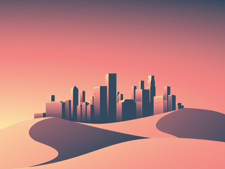 Desert landscape with hot environment. Modern city scape with skyscrapers skyline in sunset colors.  Eps10 vector illustration.