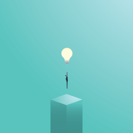 contemplate: Businessman flying on a lightbulb as a symbol of business creativity. Creative solutions vector concept. Eps10 vector illustration.