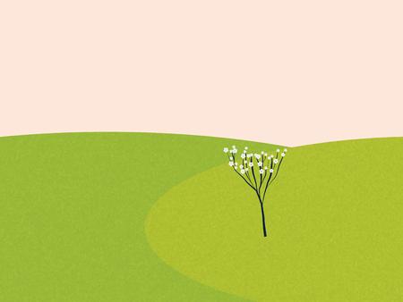 alpine plants: Spring meadow landscape with cherry tree in blossom. Seasonal vector illustration. Illustration
