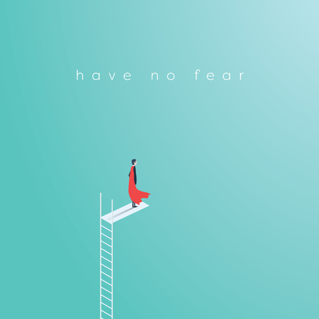 fearless: Business superhero businessman standing on high ladder jump. Symbol of business courage, bravery, fearless, power. Eps10 vector illustration.