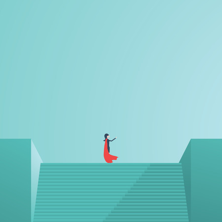 business direction: Businesswoman superhero standing on top of stairs pointing in direction. Symbol of business vision, leadership, power. Eps10 vector illustration.