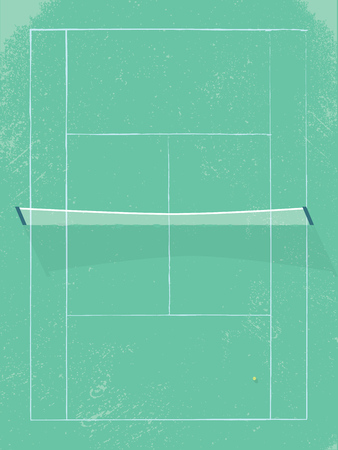 Tennis court vector illustration in modern vintage retro style. Grass surface with net in middle. Eps10 vector illustration.