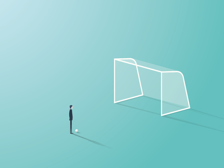 Businessman standing in front of soccer or football goal empty net with ball waiting to shoot or kick it. Eps10 vector illustration. Stock Photo