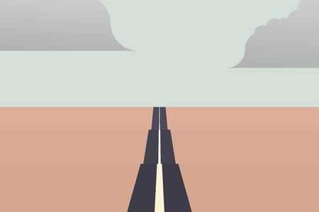 Long straight road to the horizon as a symbol of unlimited traveling on summer holiday. Stock Photo