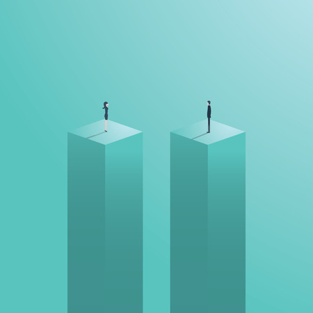 Gender gap or business inequality concept with businessman and businesswoman figure standing apart. Business career challenge symbol. Eps10 vector illustration.  イラスト・ベクター素材
