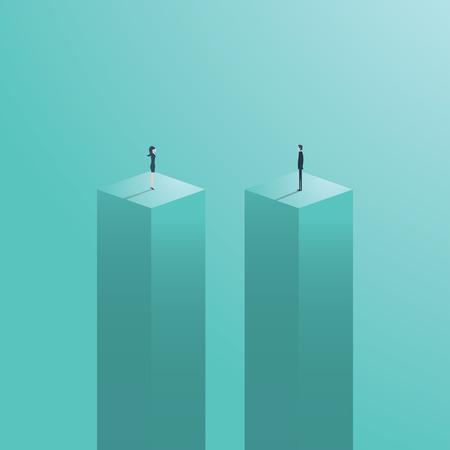 A diferença de gênero ou o conceito de desigualdade de negócios com o empresário e a empresária figuram em pé à parte. Símbolo de desafio de carreira de negócios. Ilustração em vetor eps10. Ilustración de vector