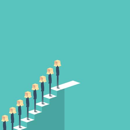 Opportunités de carrière pour les entreprises avec un homme d'affaires debout dans la queue sur les escaliers.