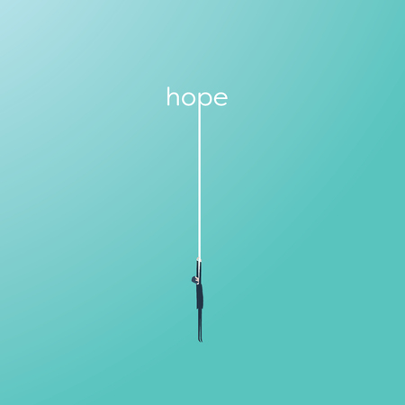 Businessman hanging on a rope from a word hope. Symbol of help, assistance in difficult situations.