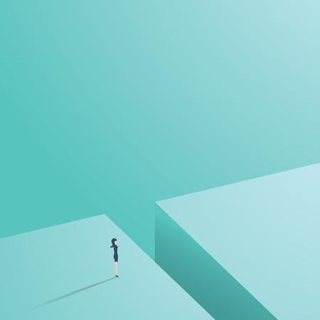 Mujer de negocios de pie delante de la brecha como un símbolo de desafío para la empresaria en la carrera en los negocios. Ilustración de vector