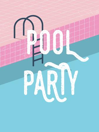 여름 초대에 풀 파티 복고 스타일 벡터 일러스트 레이 션 및 크리 에이 티브 타이 포 그래피와 포스터 템플릿 개념.