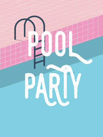 Pool party in summer invitation poster template concept with retro style vector illustration and creative typography.