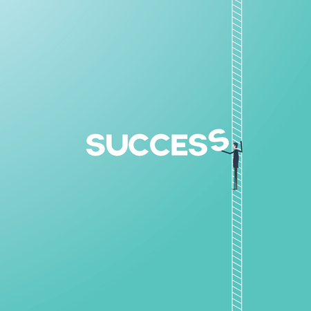 Business success concept with businessman climbing ladder vector cartoon. Corporate or career ladder growth and achievement symbol.