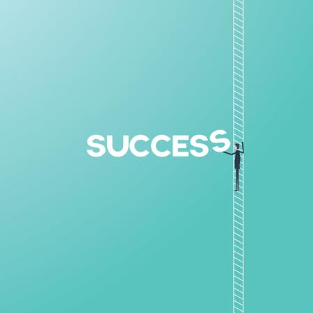 Concept de réussite commerciale avec l'homme d'affaires escalade dessin animé vecteur échelle. Symbole de croissance et de réalisation d'échelle d'entreprise ou de carrière. Vecteurs