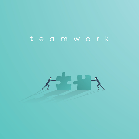 Businessman pushing jigsaw puzzle to complete it. Business teamwork concept vector symbol. Idea of cooperation and collaboration.