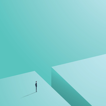 Business challenge concept with businessman in minimalistic design standing next to big hole ready, looking for solution.