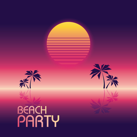 Beach party poster vector template in retro 80s neon glowing style with palm trees and halftone sunset. Eps10 vector illustration. Illustration