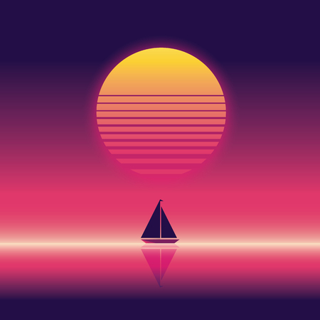 beach party: Summer beach party vector banner or flyer template. 80s retro neon glow style. Yacht sailing on horizon. Illustration