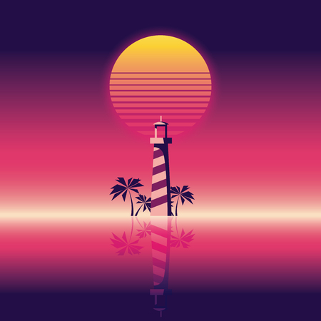 beach party: Summer beach party vector banner or flyer template. 80s retro neon glow style. Lighthouse and palm trees. Illustration