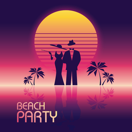 dress suit: Summer beach party vector banner or flyer template. 80s retro neon glow style. Elegant, stylish man in suit, woman in dress.