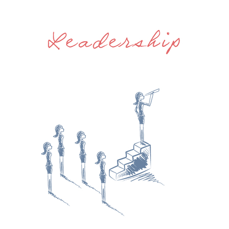 business leader: Business woman female leader concept with businesswoman standing on top of stairs looking through telescope. vector illustration.