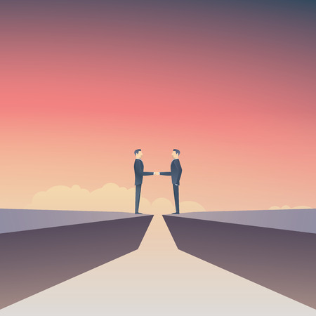 business deal vector concept avec deux affaires faisant poignée de main sur le signe de négociation de l & # 39 ; entreprise de la main Vecteurs