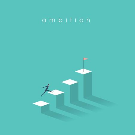 Koncepcja wektora ambicji z biznesmenem skakać na kolumnach wykresu. Sukces, osiągnięcie, motywacja symbol biznesu.