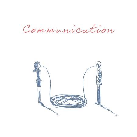 misunderstanding: Business concept of communication and misunderstanding between business man and woman. Communication breakdown between genders. Vector illustration.