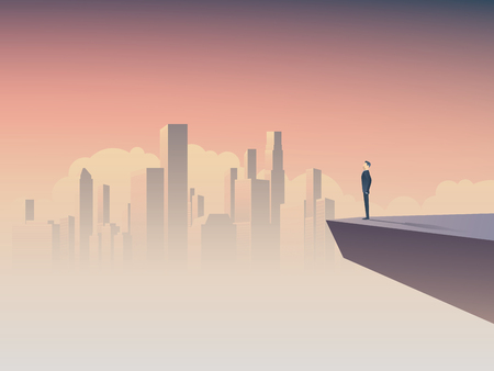Businessman looking at cityscape vector concept. Symbol of business vision, motivation, success.