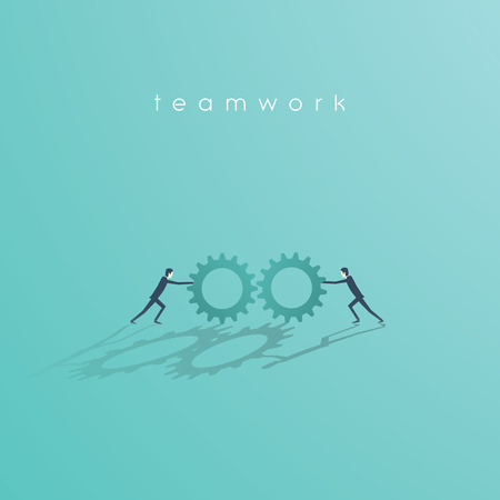 Business teamwork vector concept with two businessman pushing cog wheels to each other. Business symbol of cooperation, work, solution.