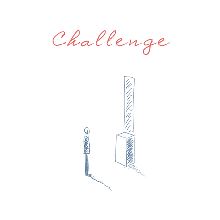business challenge: Business challenge vector concept with man standing in front of door too high. Symbol of obstacles, overcoming and problem solution.