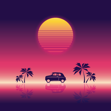 Beach party poster vector illustration template with sunset and palm trees and small car. 80s neon vintage retro style.