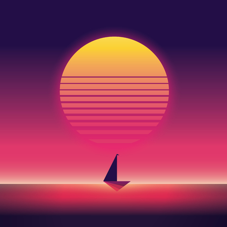 Summer traveling and holiday vector poster with yacht sailing in sunset. 80s neon retro vintage style. Illustration