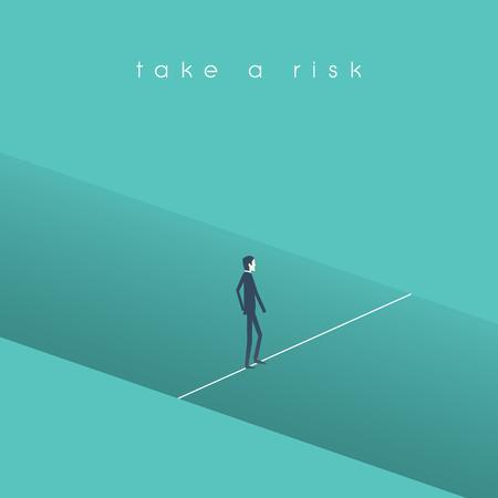 Concepto del vector del riesgo comercial con el hombre de negocios que camina sobre agujero en una línea cuerda. Símbolo de desafío empresarial, determinación, motivación.