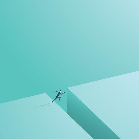 O empresário pulava em toda a parte. Símbolo vetorial empresarial do risco comercial, aventura, oportunidade, desafio. Ilustración de vector