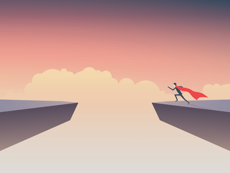 Business superhero businessman running to jump over gap between two cliffs.