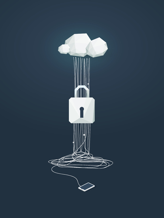 Data protection and cyber security vector concept. Symbol of lock and cloud computing technology as protection from hacking.