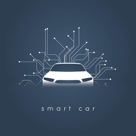 Concepto de vector de coche inteligente o inteligente. Tecnología automotriz futurista con conducción autónoma, autos sin conductor.