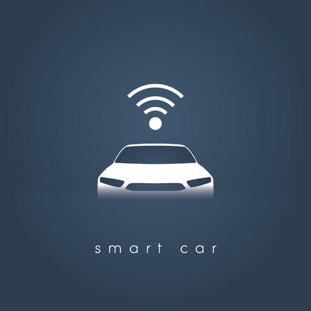 Smart or intelligent car vector concept. Futuristic automotive technology with autonomous driving, driverless cars. Иллюстрация