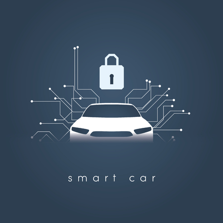 Smart intelligent car safety and security vector concept illustration. Digital security and protection against hacking.