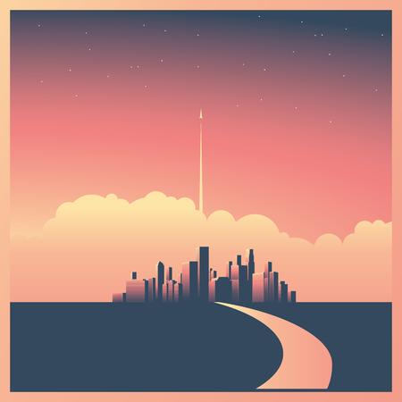 Fondo urbano moderno di orizzonte o di paesaggio urbano con i grattacieli nel concetto di vettore di tramonto. Razzo o astronave che inizia in background. Archivio Fotografico - 82688221